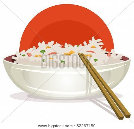 Fried Rice With Asian Chopsticks