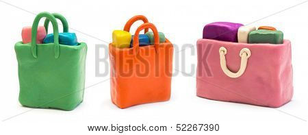 Assorted shopping bags made of clay
