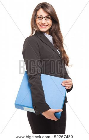 Businesswoman holding a document binder. Isolated on white