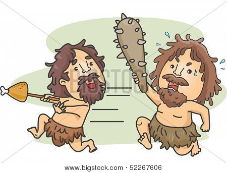 Illustration of a Male Caveman Carrying a Club Chasing Another Caveman Who Stole His Food