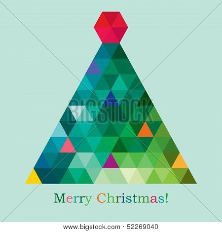vector geometric new year tree