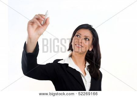Business Woman Drawing On A Screen