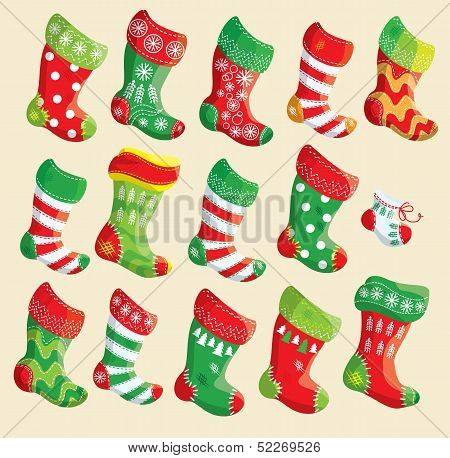 Set Of Various Christmas Stockings.