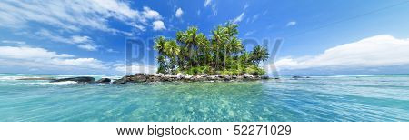Panoramic image of tropical island. Web site or blog photo header or banner design for travel, tourism, sea or tropical nature theme.