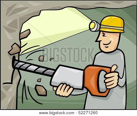 Miner At Work Cartoon Illustration