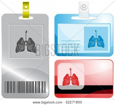 Lungs. Id cards. Raster illustration.