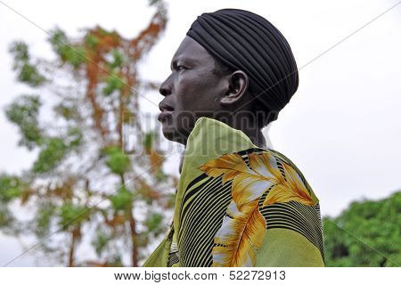 African Woman Gazing Off Into The Distance