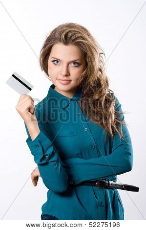 Beautiful Friendly Girl Showing Credit Card In Hand