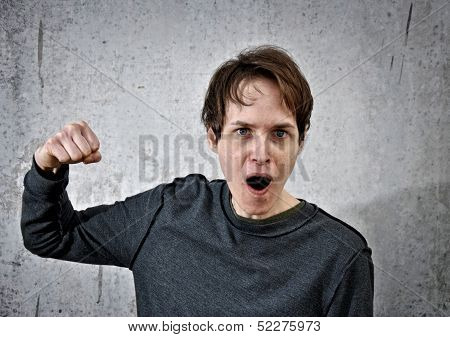 Aggressive Young Man