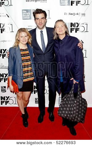NEW YORK- OCT 8: Actors Celia Keenan-Bolger (L), Zachary Quinto and Cherry Jones attend