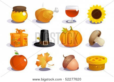 Thanksgiving day symbols collection.