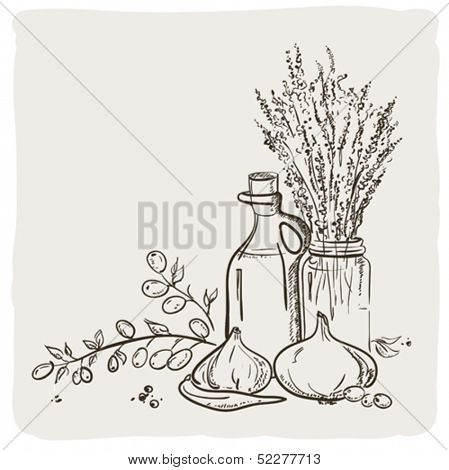 Sketch of branch with olives, bottle and vegetables.