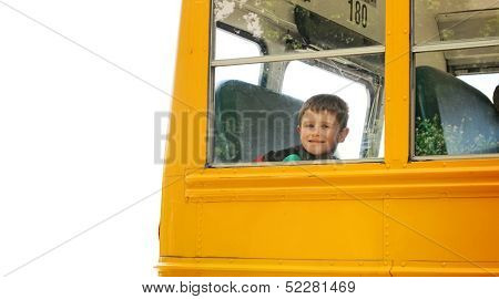 Boy Rising School Bus On White Background