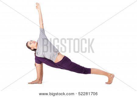 Young Woman Doing Yoga Exercise Utthita Parsvakonasana