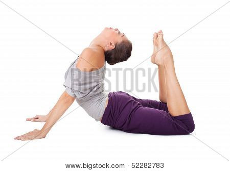 Young Woman Doing Yoga Exercise Cobra Pose