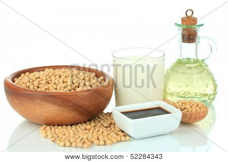 Soy products isolated on white