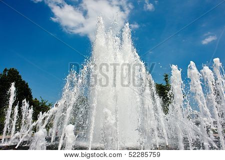Water Jet In A City Park Fountain