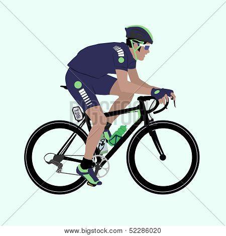 Vector Deep-blue Green Racing Cyclist Illustration