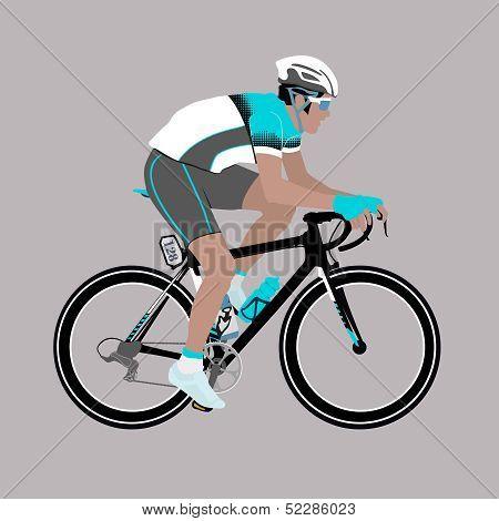 Vector Aqua-green Grey Racing Cyclist Illustration