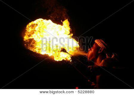 Man breathing fire!