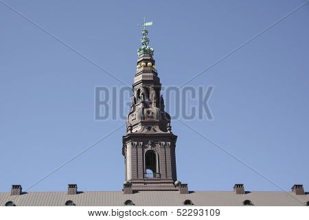 Tower Of Christiansborg Palace In Copenhagen