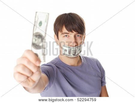 Young Man With His Mouth Sealed By Hundred Dollar Bills For Bribe Concept Isolated On White