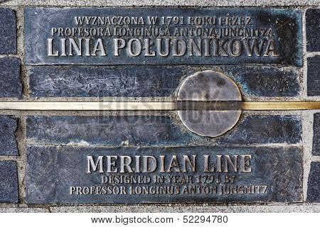 Meridian Line In Wroclaw, Poland