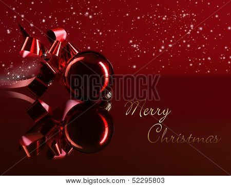 Merry Christmas on red  background gold subtitle