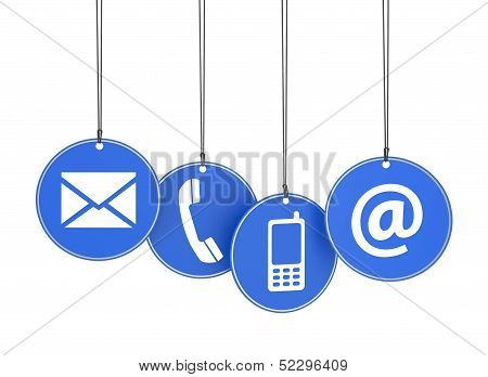 Web Contact Us Icons On Blue Tags