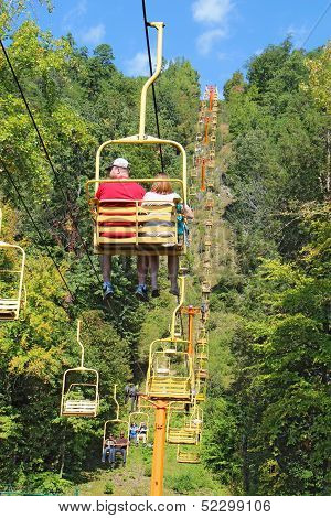 Tourists Riding The Sky Lift In Gatlinburg, Tennessee Vertical