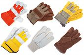 picture of pipefitter  - Coarse leather gloves on a white background - JPG