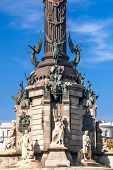 picture of christopher columbus  - Sculptures at the base of Christopher Columbus memorial Barcelona Spain - JPG
