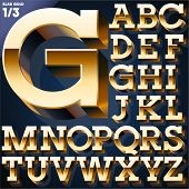 pic of slab  - Vector illustration of golden 3D alphabet - JPG