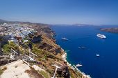 FIRA, SANTORINI, GREECE - JUN 21: Beautiful architecture of Fira town on Santorini island in Greece