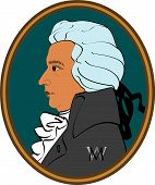 picture of mozart  - portrait wolfgang amadeus mozart in classical frame - JPG