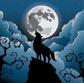 foto of wolf moon  - Silhouette Wolf howling at the moon  - JPG