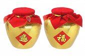 stock photo of pot gold  - Chinese New Year Ornaments Gold Pots  - JPG