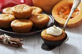 picture of patty-cake  - Pumpkin Muffins on vintage wooden table with raw pumpkin - JPG