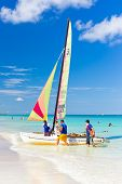 VARADERO,CUBA-OCTOBER 6:Tourists sailing on a catamaran October 6,2013 in Varadero.With over a milli