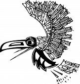 picture of tlingit  - Mythical flying Raven rendered in Northwest Coast Native style - JPG
