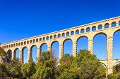 stock photo of aqueduct  - Roquefavour historic old aqueduct landmark Ventabren Aix en Provence France Europe - JPG