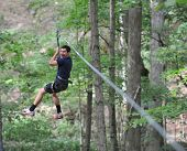 pic of harness  - A teenage boy on a zip line in the woods - JPG