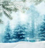stock photo of snowy hill  - winter background - JPG