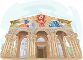 pic of gethsemane  - Illustration Featuring the Church of All Nations in Israel - JPG