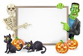 stock photo of frankenstein  - Halloween sign or banner with orange Halloween pumpkins and black witch - JPG