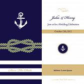 stock photo of navy anchor  - Wedding invitation card - JPG