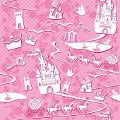 Постер, плакат: Seamless Pattern With Fairytale Land Castles Lakes Roads Mills carriages And Horses Pink Prin