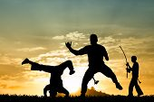 pic of karate-do  - an illustration of people doing Capoeira at sunset - JPG