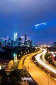 picture of petronas twin towers  - Kuala Lumpur skyline at night - JPG