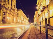 stock photo of torino  - Vintage looking Via Po ancient central baroque street in Turin  - JPG
